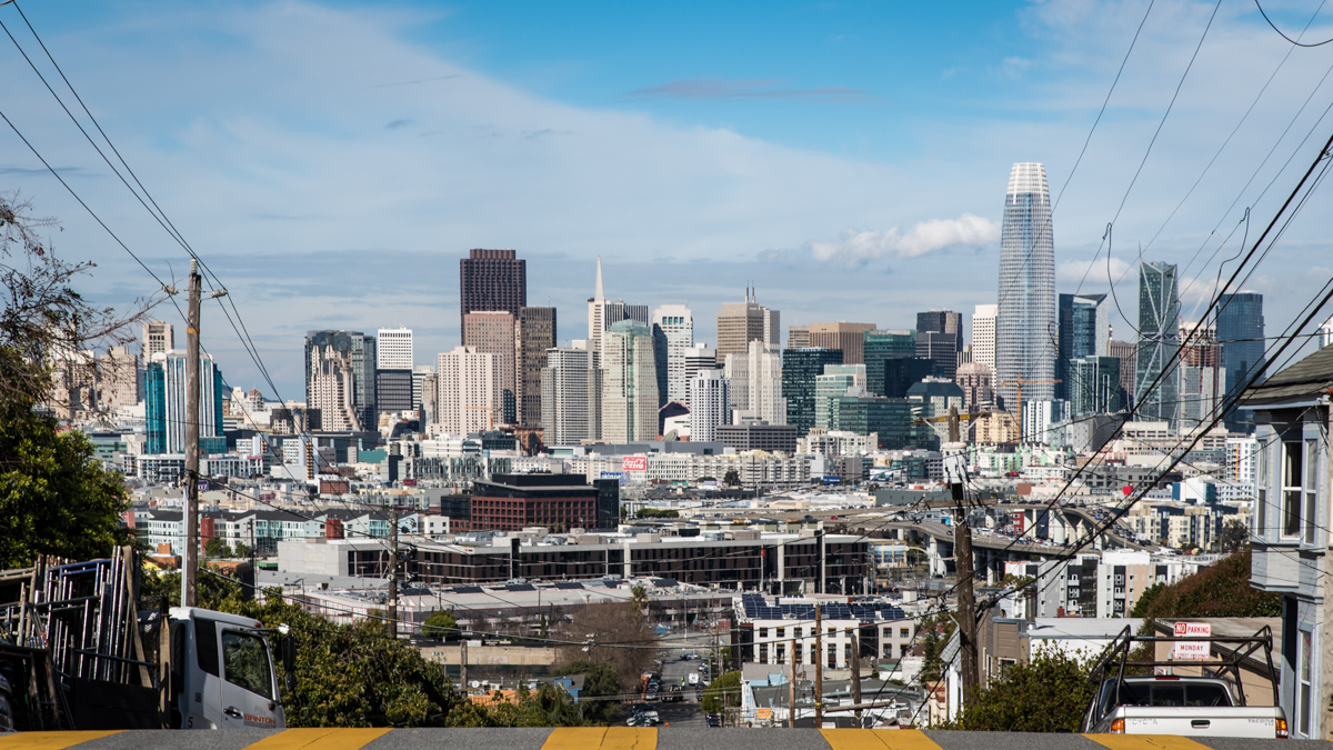 "Your reward for hiking up Potrero Hill is ""The Streets of San Francisco"" views to the north all the way to downtown."