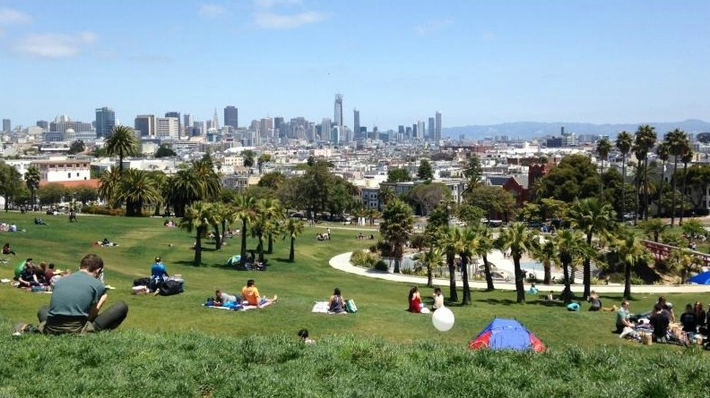 Dolores Park in San Francisco's Mission District is a nice spot for a picnic. It is BARTable